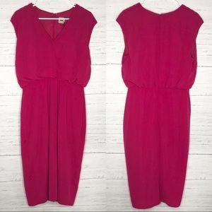 Magenta Pink V Neck Sleeveless Midi Dress